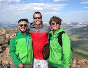 Three friends on the summit of Mt. Bierstadt. (Photo by Andrew Forkes-Gudmundson )