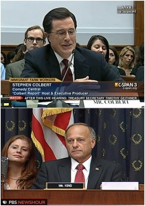 In unrelated news: Stephen Colbert testified before Congress in 2010 to try and help push along immigration reform. It was great TV and most of the legislators enjoyed Colbert's schtick. GOP Rep. Steve King of Iowa was one of those who didn't like Colbert's performance. (Screen shots from C-Span and PBS)