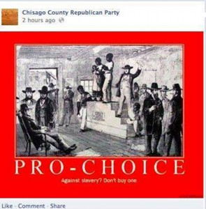 This was actually posted on the Facebook page of the Chisago County (Minnesota) Republican Party.