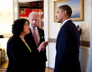 Associate Justice of the Supreme Court Sonia Sotomayor with Vice President Joe Biden and President Barack Obama. (Photo via Wiki Commons)