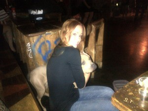 Christine with a rescued pit bull. (Photo by Christine Smith)