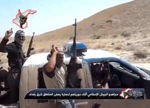 Screen shot from ISIS Twitter account showing insurgents in mid-size pick-up truck.