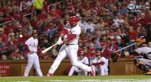 Oscar Taveras hitting his game-tying homerun in Game Two of the NLCS. He had come into the game as a pinch-hitter. (YouTube)