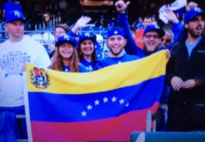 Venezuelan fans in kauffman Stadium cheering on their hero and fellow Venezuelan, Salvador Perez.