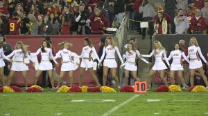 The USC cheerleaders had much to cheer about Thursday. (Claudia Gestro)