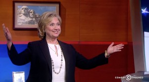 Former Secretary of State Hillary Clinton on the Colbert Report.