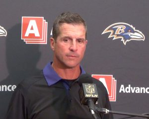 Ravens head coach John Harbaugh finds his team at 4-4 and at the top of their division.