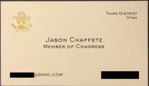Jason Chavvetz's Congressional business card, with his Gmail email address listed. (Twitter)