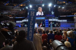 The crowd cheering for Hillary Clinton at the DNC (Douglas Christian)