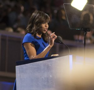 Michelle Obama raised the the spirit inside the DNC Monday Night. (Douglas Christian)