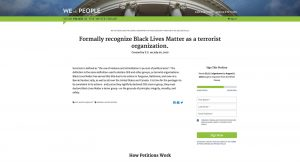 Absurdity hits a new level. The petition to have BLM declared a terrorist movement.